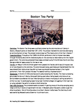 Boston Tea Party - Review Article Questions Vocab Activities Facts History