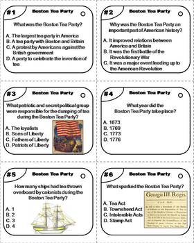 Boston Tea Party Task Cards (American Revolution Unit)
