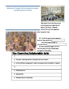 Boston Tea Party Worksheet