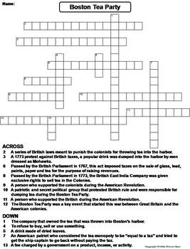 boston tea party worksheet crossword puzzle by science spot tpt. Black Bedroom Furniture Sets. Home Design Ideas