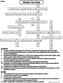 Boston Tea Party Worksheet/ Crossword Puzzle