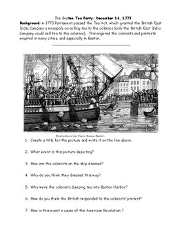 Boston Tea Party Worksheet with Answer Key