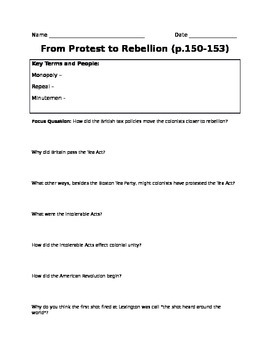 Boston Tea Party and Intolerable Acts Worksheet