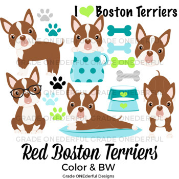 Boston Terrier Clipart, Red Boston Terrier Puppies, Cute Dog Graphics