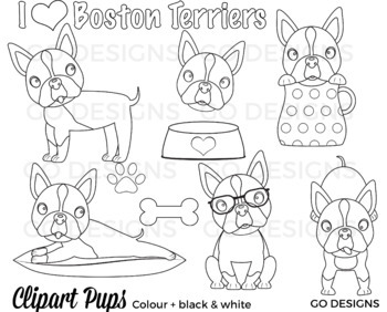 Red Boston Terrier Dog Clipart