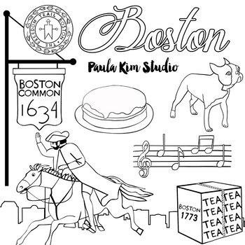 Boston Watercolor Clip Art