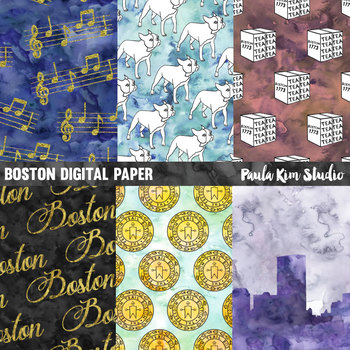 Boston Watercolor Digital Paper