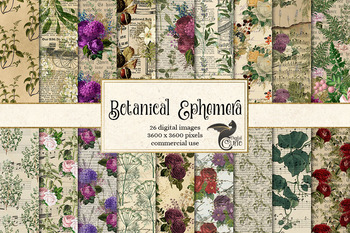 Botanical Ephemera digital paper, printable vintage herbal backgrounds