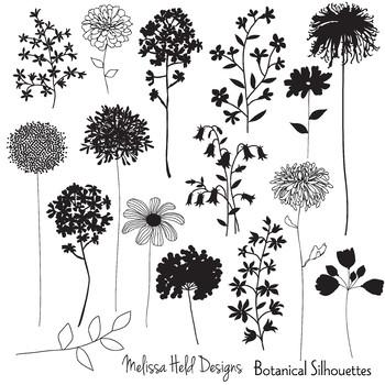 Clipart: Botanical Silhouettes Clip Art