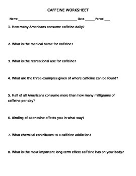 Botany Stimulating Beverages Caffeine Worksheet