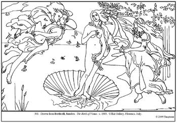 Botticelli. The Birth of Venus.  Coloring page and lesson plan ideas