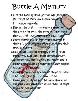 Bottle A Memory Writing using the story Wilfrid Gordon McDonald Partridge