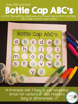 Bottle Cap ABC's Practice Editable!