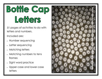 Bottle Cap Letters and Numbers