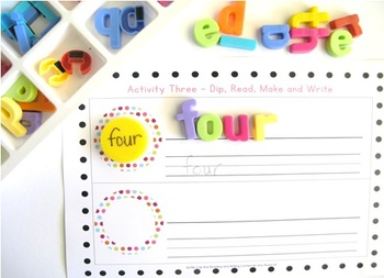 Bottle Cap Reading and Writing Centers x 5 for any word list