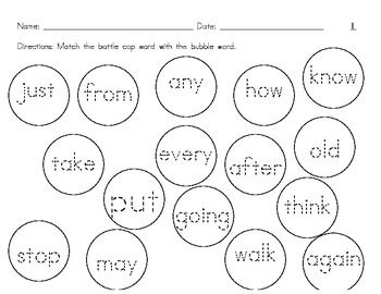 Bottle Cap Sight Words Match