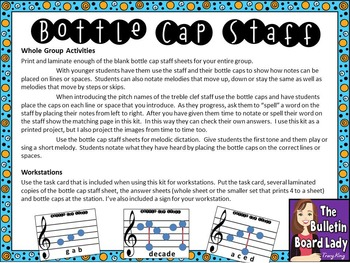 Bottle Cap Staff Activity -Learn the Treble Clef Staff