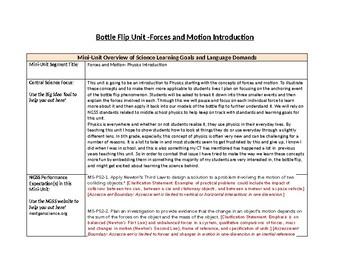 Bottle Flip Unit- Forces and Motion, Physics Introduction
