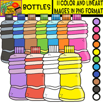 Bottles - Cliparts set - 11 Items