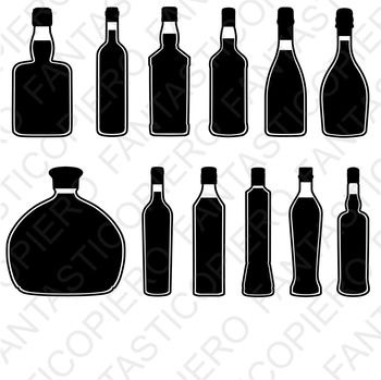 Bottles SVG files for Silhouette Cameo and Cricut.