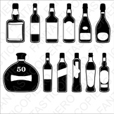 Bottles with label SVG files for Silhouette Cameo and Cricut.