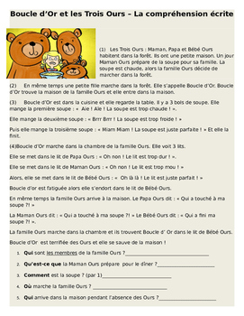 Boucle d'Or et Les Trois Ours - Comprehension Ecrite in Basic French