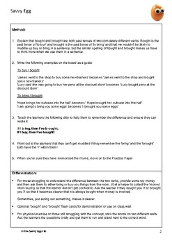 Bought or brought Literacy Worksheet