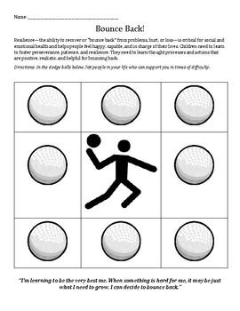 Bounce Back! Learning Resiliency worksheet