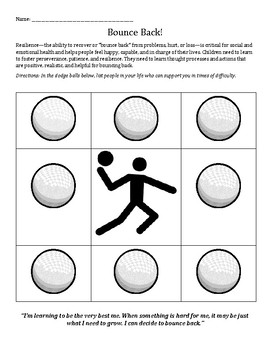 Bounce Back! Learning Resiliency worksheet