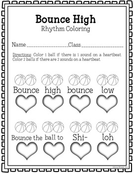 Bounce High Bounce Low Coloring/Dictation Page (ta & ti-ti prep & practice)
