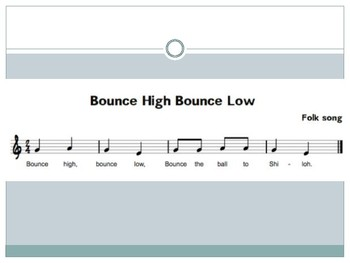 Bounce High, Bounce Low Powerpoint with steady beats, solfege, and lyrics