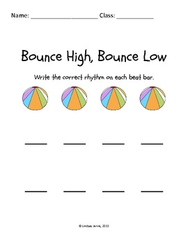 Bounce High Bounce Low: Rhythm Writing {FREEBIE}