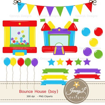 Bounce House Boy digital paper and clipart