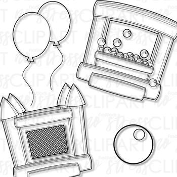 Bounce House Clip Art Blue Set (Digital Use Ok!)