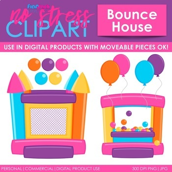 Bounce House Clip Art Pink Set (Digital Use Ok!)