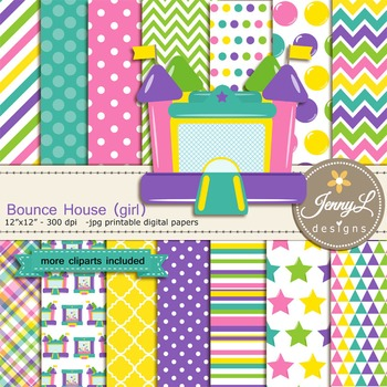 Bounce House Girl digital paper and clipart