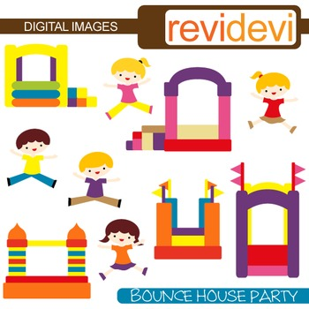Bounce House Party Clip Art (kids, boys and girls jumping, playing)