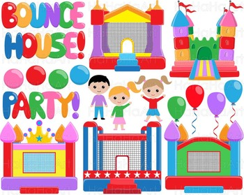 Bounce House Party V2 - Clip Art Digital Files Personal Commercial Use cod237