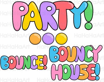 Bounce House Party with Lines Clip Art Digital Files Commercial Use cod265