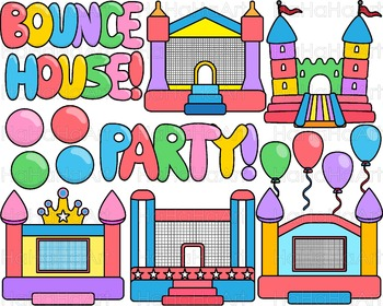 Bounce House Party with Lines Clip Art Digital Files Comme