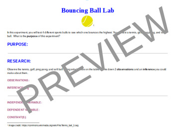 Bouncing Ball Energy Lab Sheet