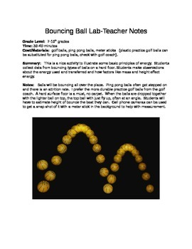 Bouncing Ball Lab: A lab on kinetic and potential energy principles