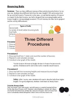 Bouncing Balls: Independent and Dependent Variables