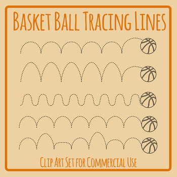 Bouncing Basketball Dotted or Dashed Tracing Lines Clip Art Commercial Use