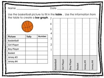 Bouncing Basketballs Bar Graph and Line Plot Activity