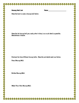 Bouncy Ball Lab Sheet