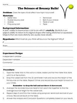 Bouncy Ball Scientific Method 2 Practice Experiments: Drop Height and Elasticity
