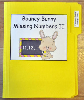 "File Folder Game ""Bouncy Bunny:  Fill in the Missing Number II"""