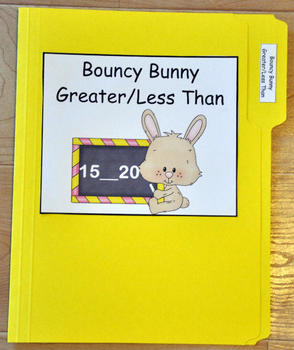 "File Folder Game--""Bouncy Bunny Greater Than/Less Than"""