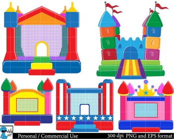 Bouncy house party Digital Clip Art Graphics 5 images cod46